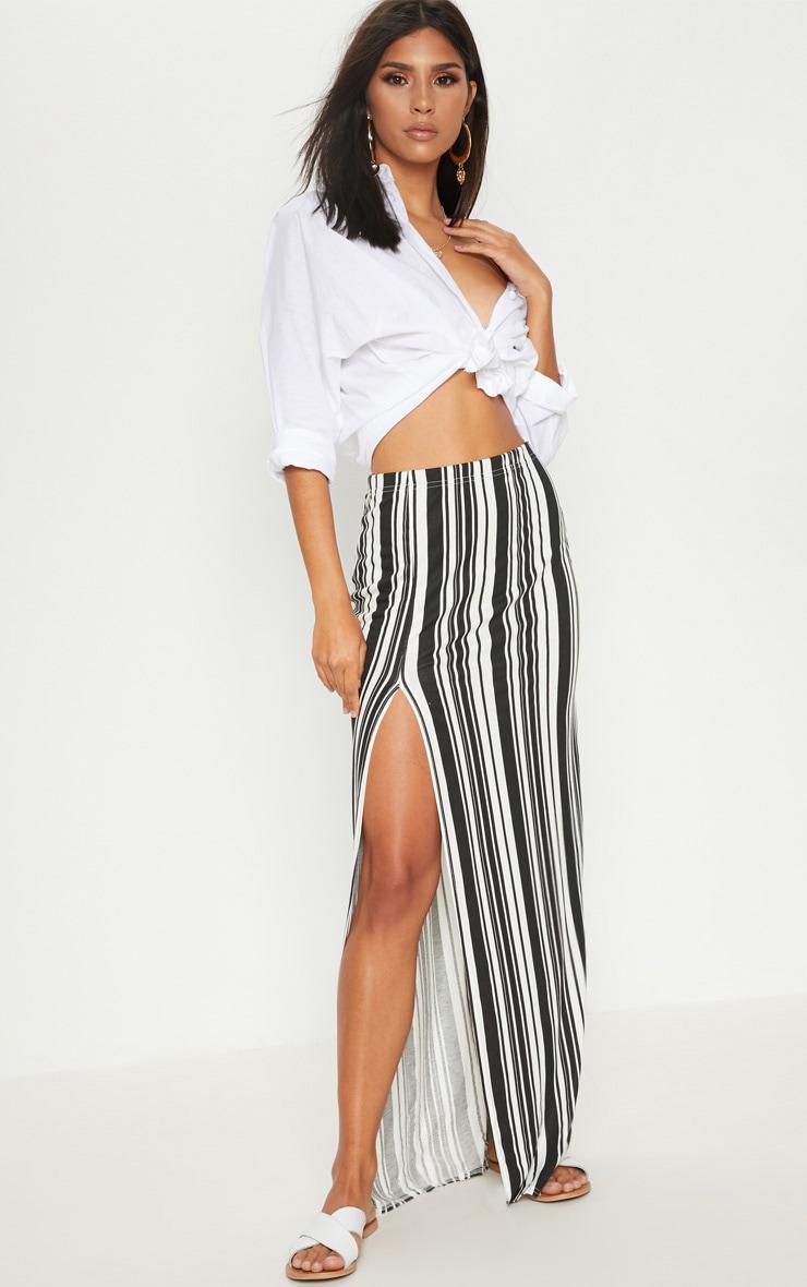 Cream Printed Side Split Maxi Skirt