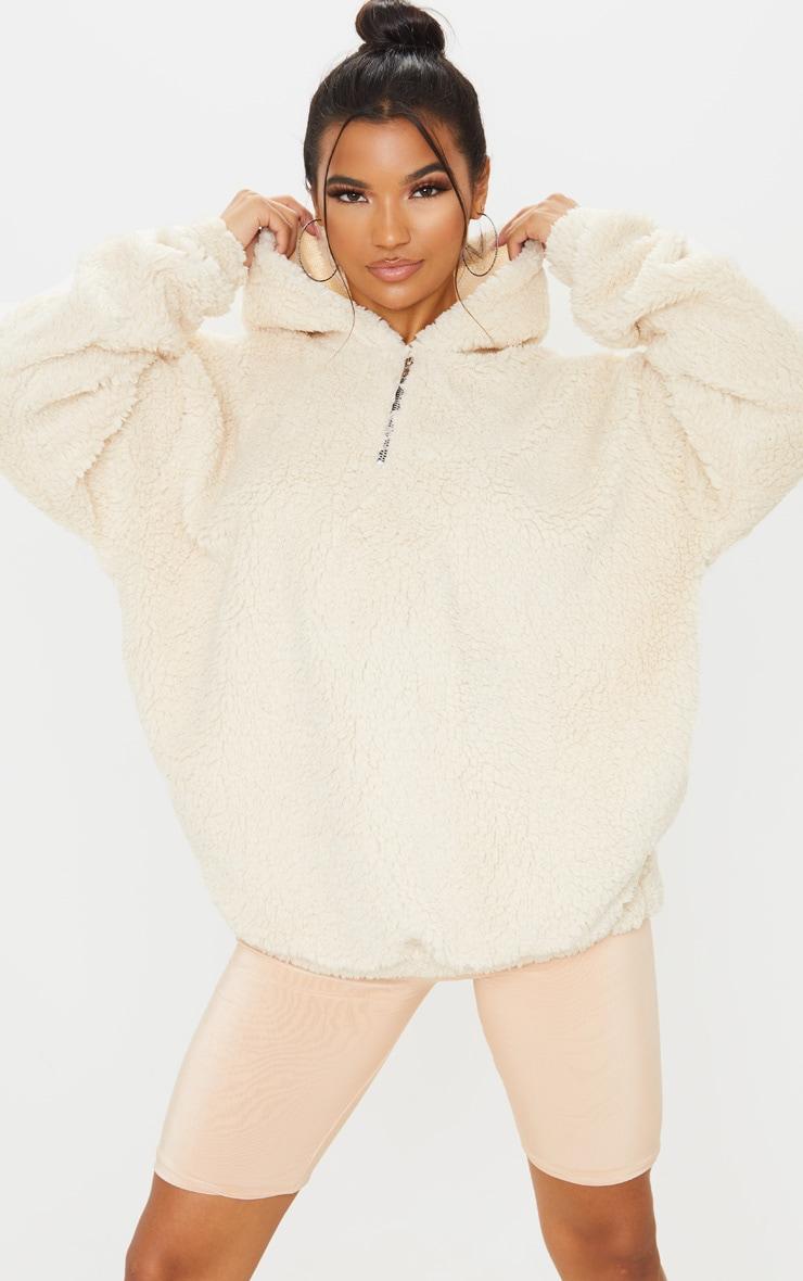 Cream Borg Faux Fur Hoodie 1