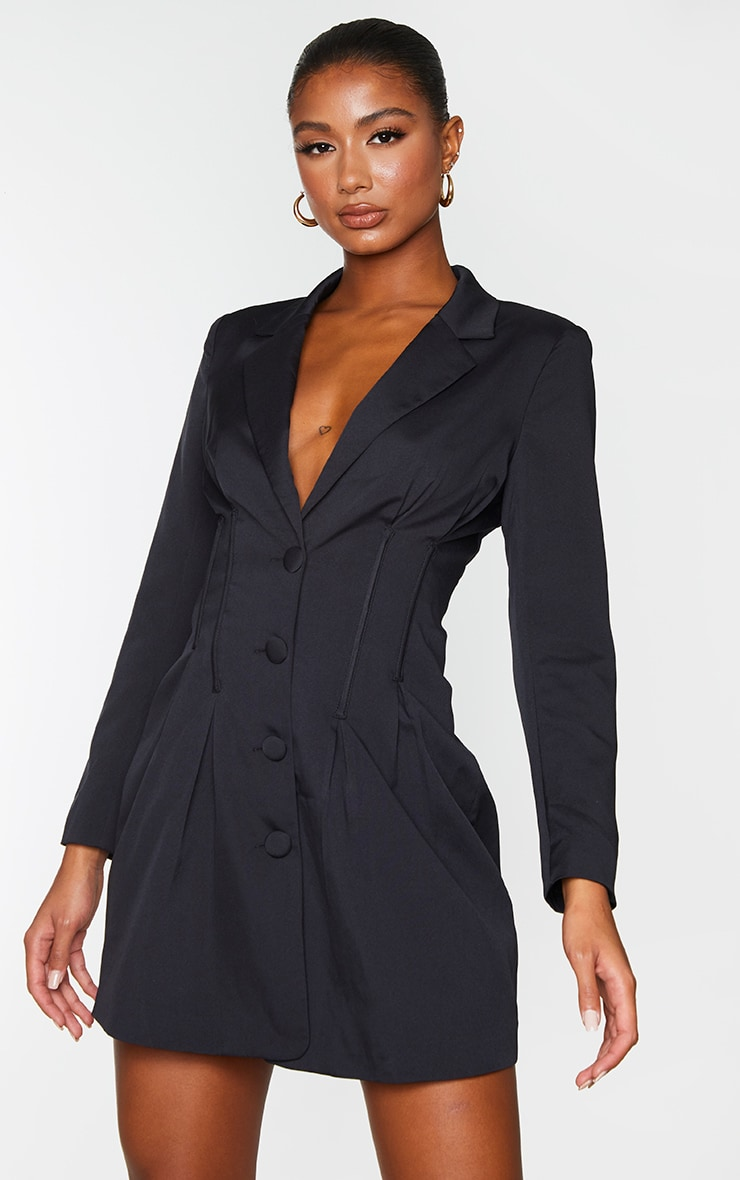 Black Woven Waist Binding Detail Blazer Dress 1