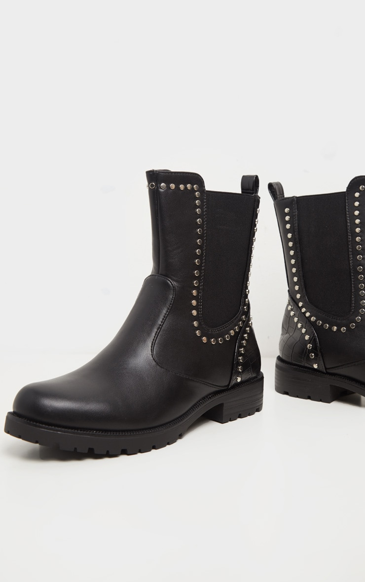 Black Studded Chelsea Cleated Biker Boot 4