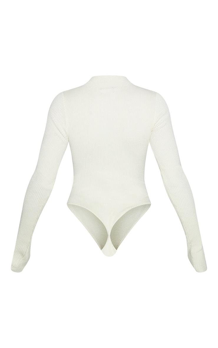 Cream Half Zip Knitted Bodysuit 6