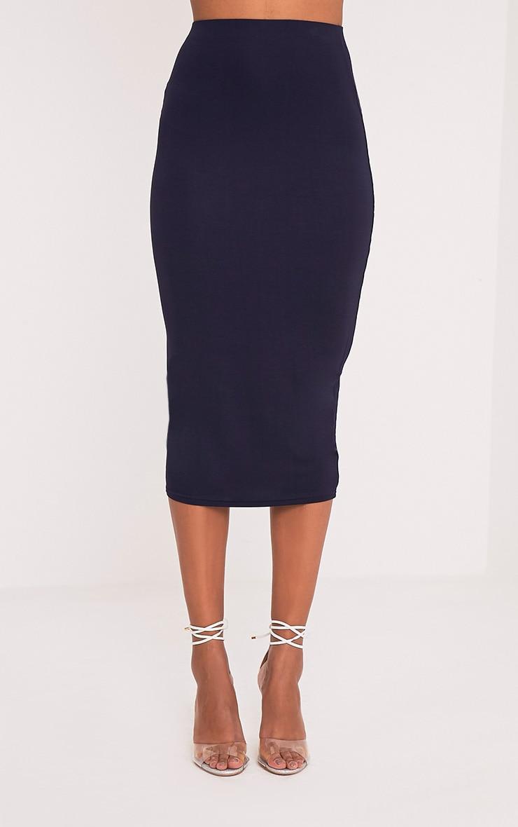 Basic jupe midi longue bleu marine 2