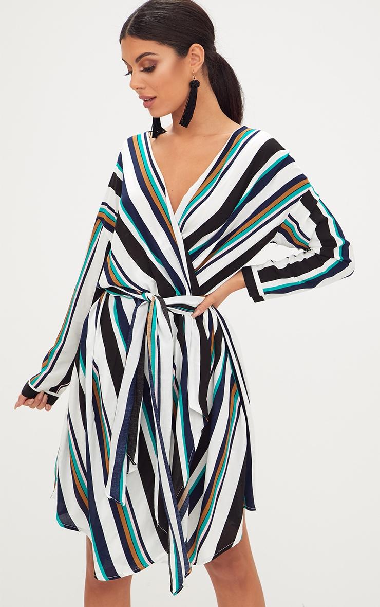 Navy Bold Stripe Tie Waist Wrap Dress 1