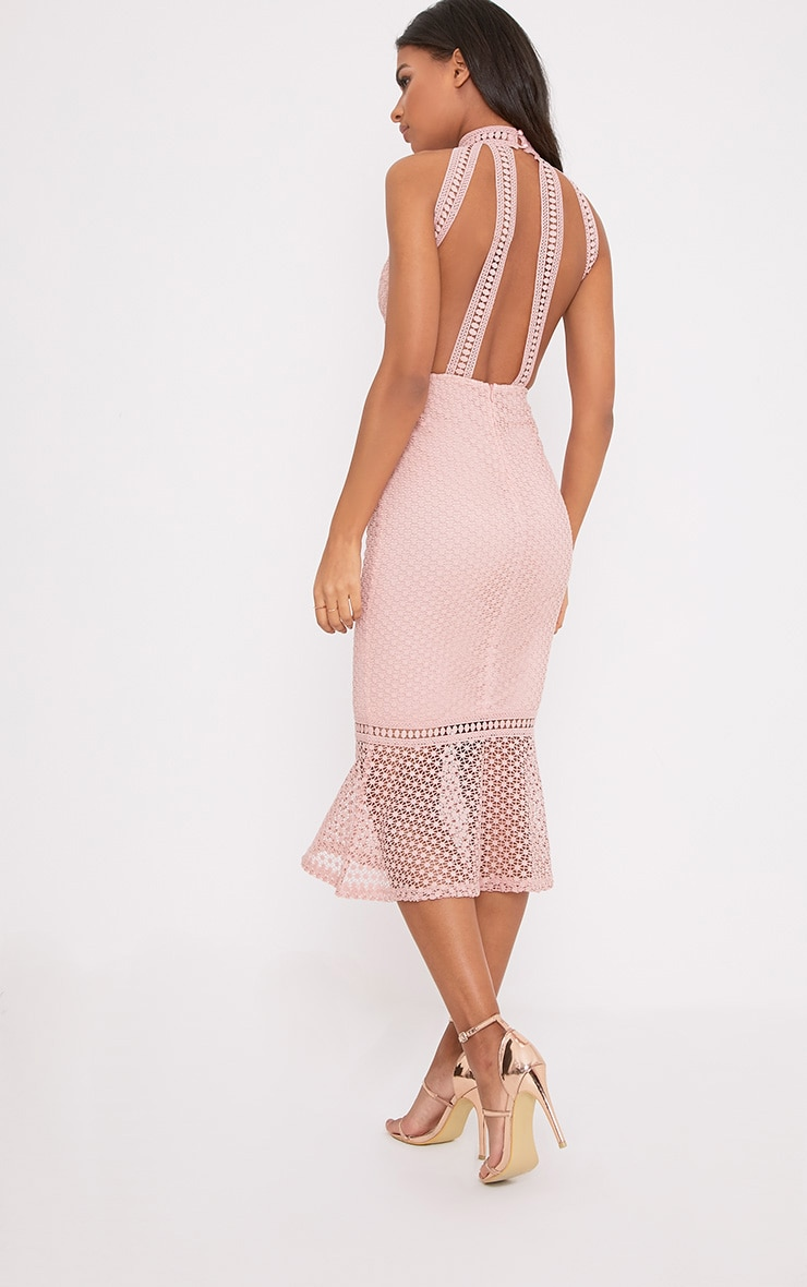Kymmie Dusty Pink Lace High Neck Midi Dress 2