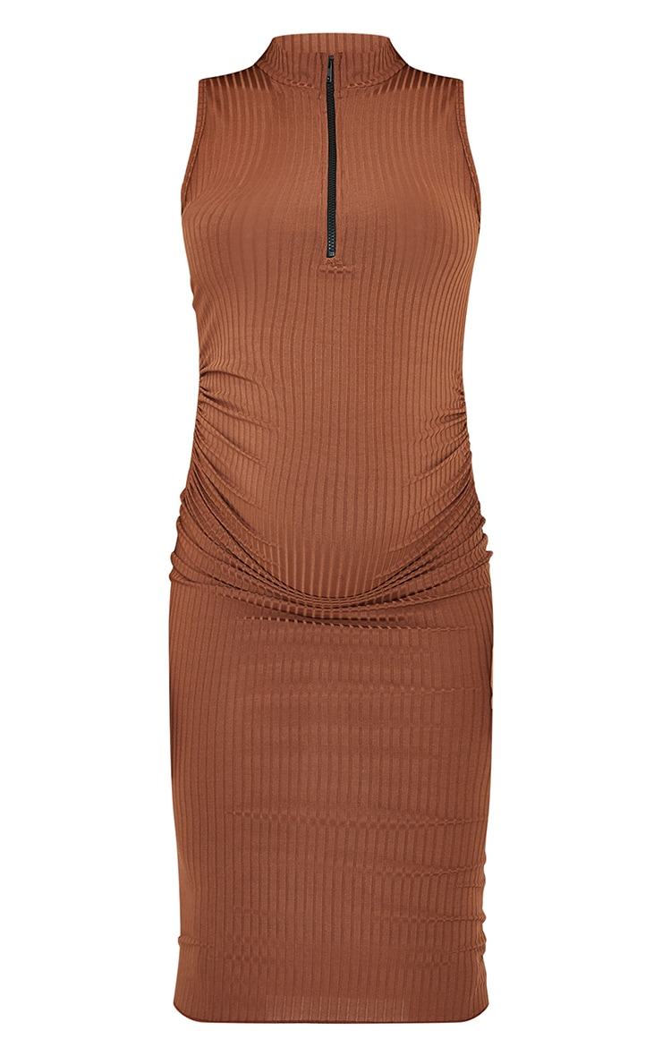 Maternity Brown Zipped Ruched Side Midi Dress 5