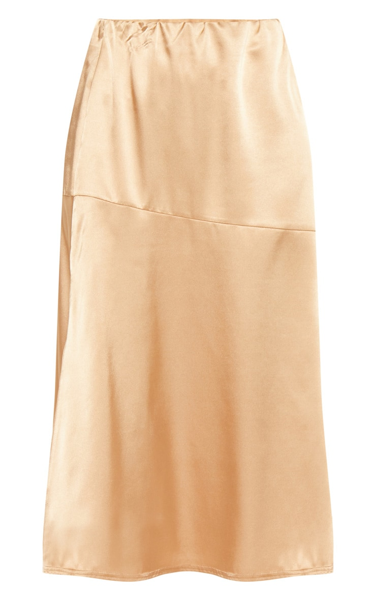 Champagne Satin Asymmetric Panel Floaty Midi Skirt 3