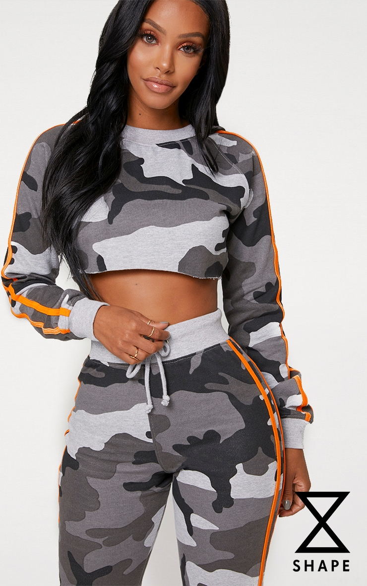 Shape Grey Camo Side Stripe Sweater 1