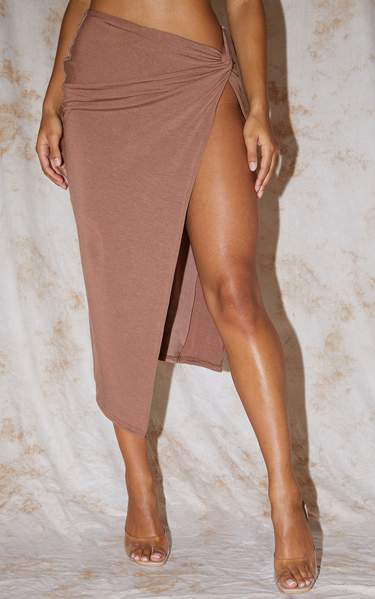 Recycled Chocolate Brown Contour Jersey Twist Front Midaxi Skirt 2