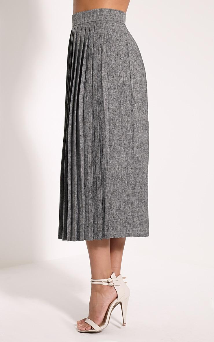 Leannah Grey Pleated Midi Skirt 3