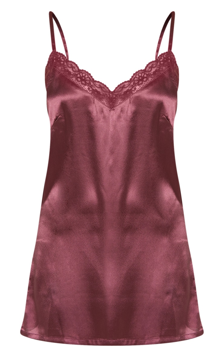 Berry Lace Trim Satin Nightie 3