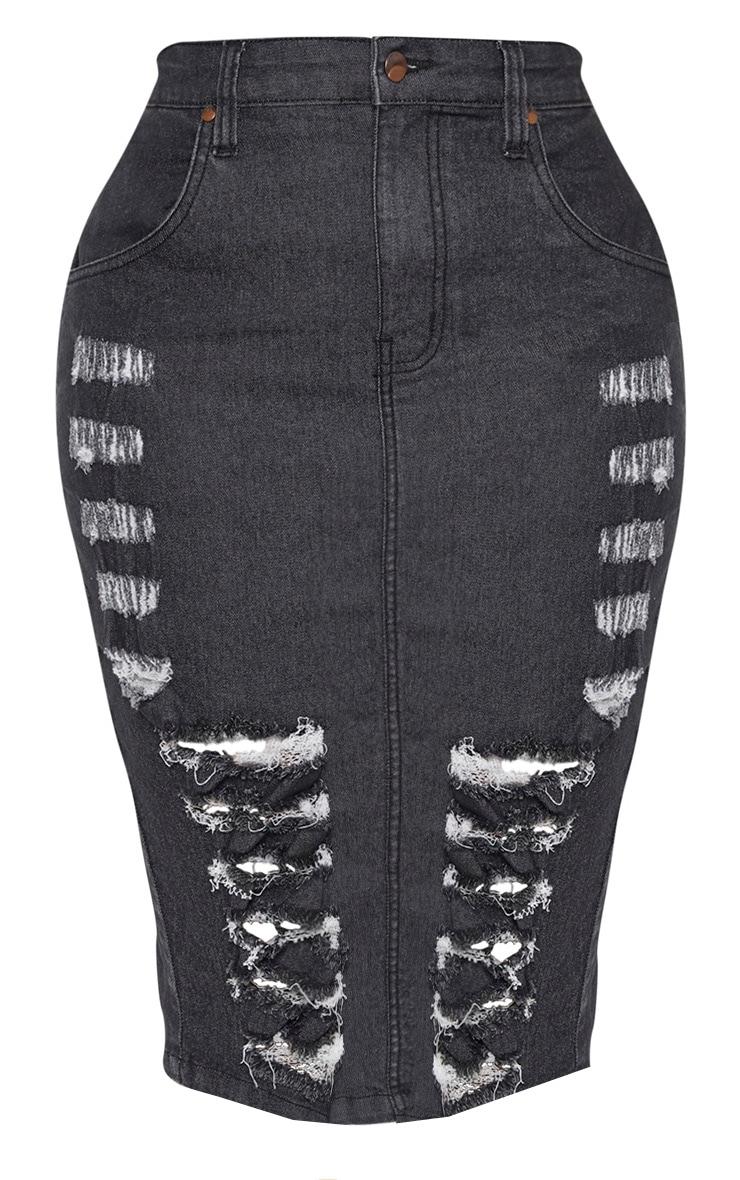 Shape Washed Black Distressed Detail Denim Midi Skirt 3