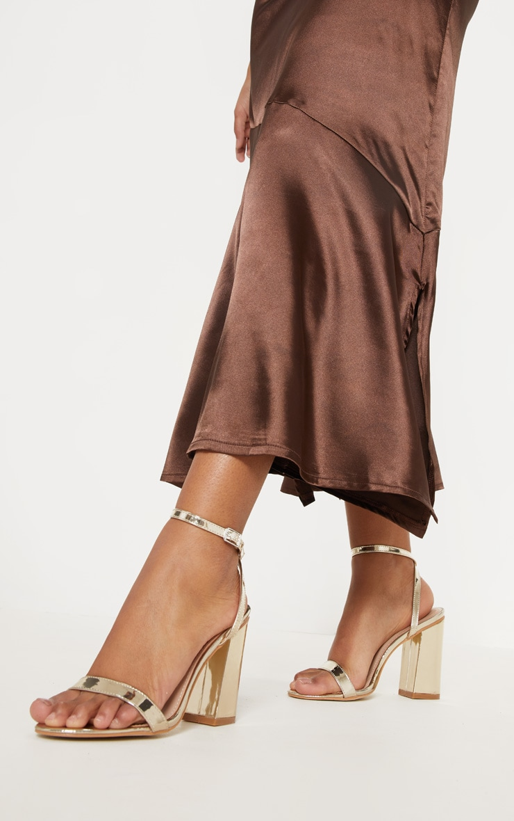 Gold Ankle Strap Block Heel 1