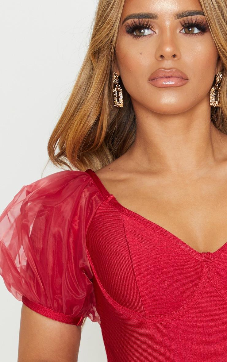 Petite Red Bandage Chiffon Frill Puff Sleeve Bodycon Dress  5