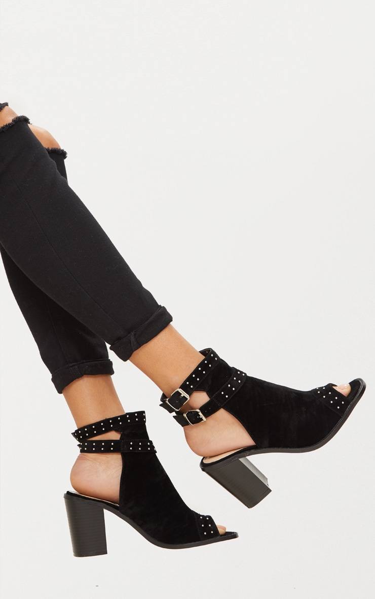 Black Buckle Cut Out Block Heel Ankle Boots 1
