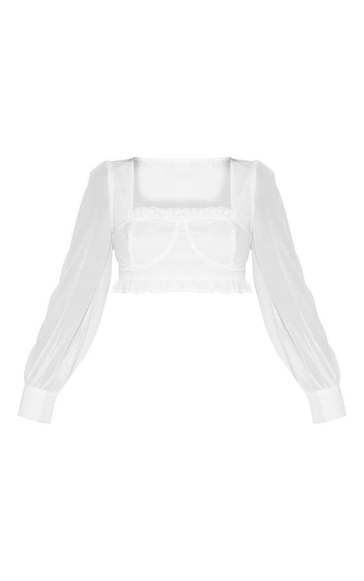 White Cup Frill Square Neck Long Sleeve Crop Top 3