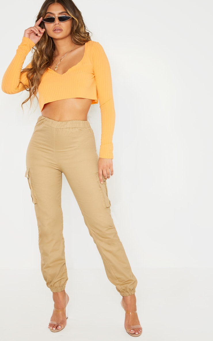 Peach Long Sleeve Rib Raw V Crop Top 3