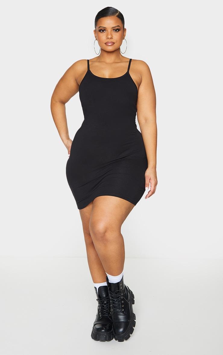 Basic Plus Basic Black Cotton Blend Strappy Bodycon Dress 3