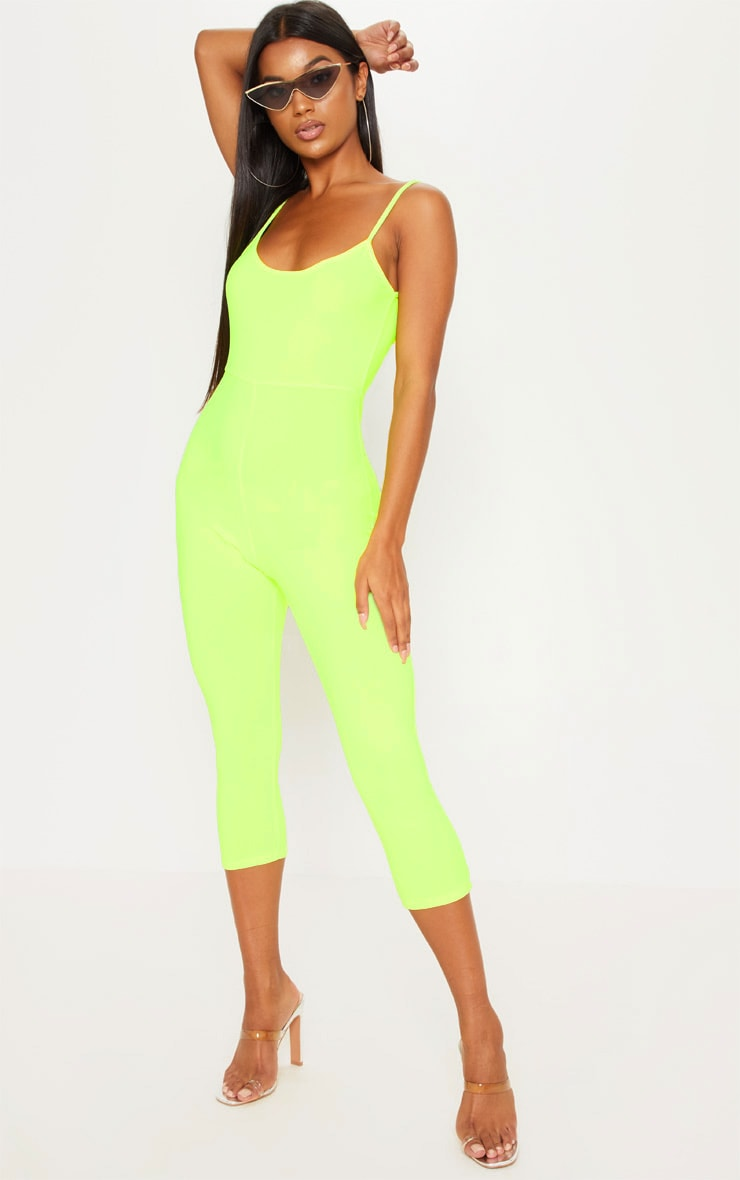 Neon Yellow Strappy Unitard 2