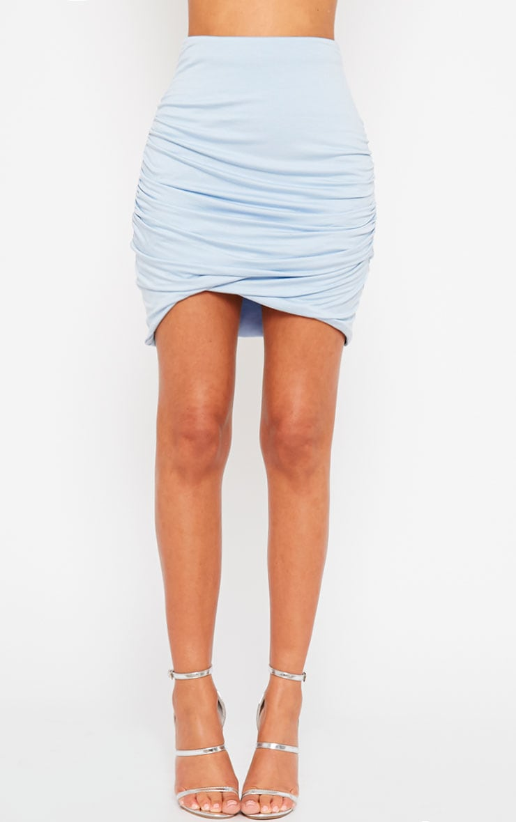 Blue Jersey Ruched Mini Skirt 2