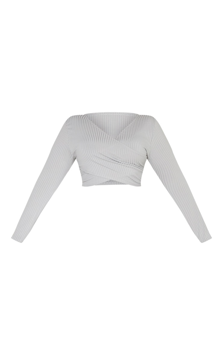 Plus Grey Rib Wrap Detail Top 3