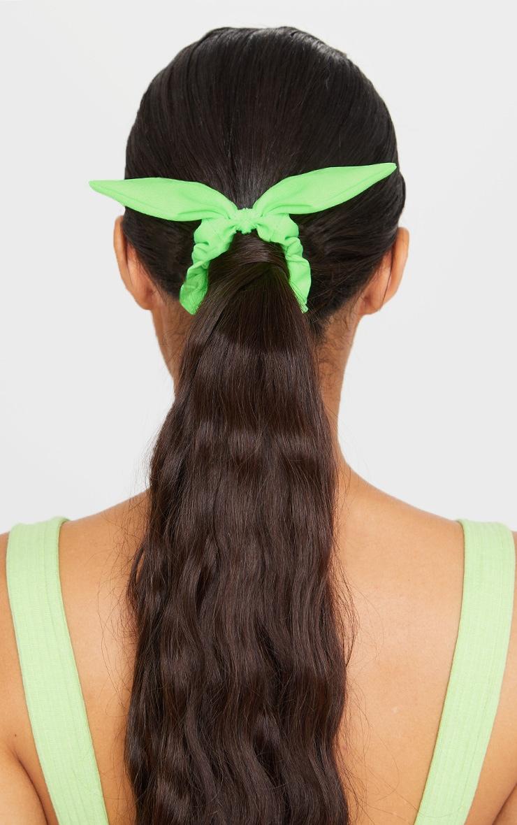 Neon Green Bow Hair Scrunchie 1