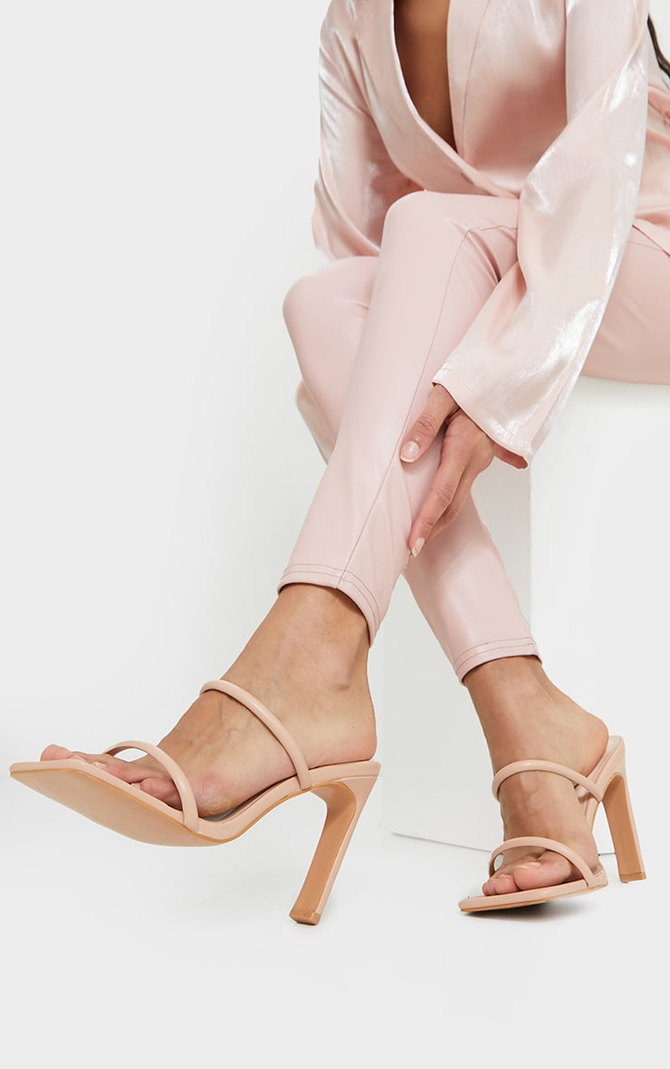Nude PU Extreme Square Toe Twin Strap Mule High Heels 1