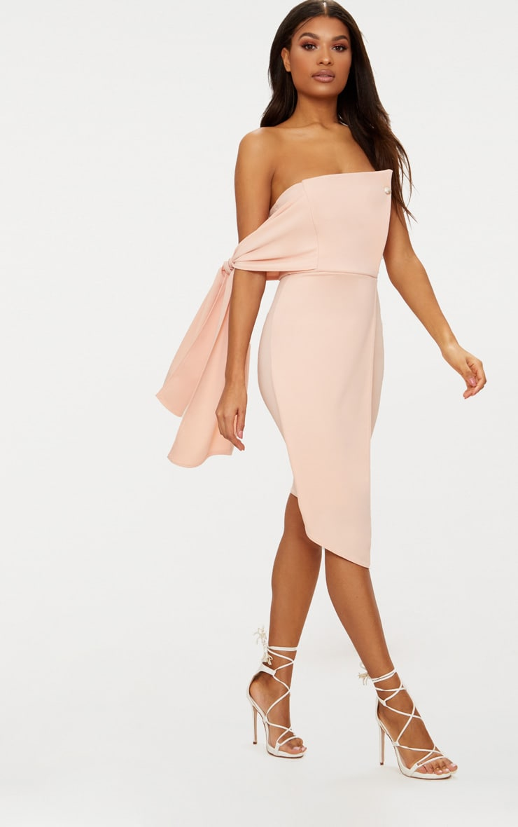 Nude Tie Detail Wrap Front Bandeau Midi Dress 4
