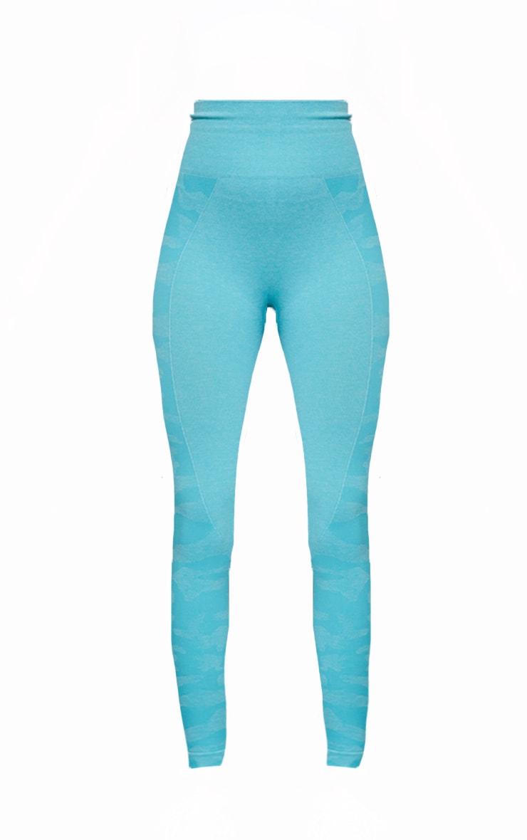 Blue Seamless Camo Panel Gym Leggings 5