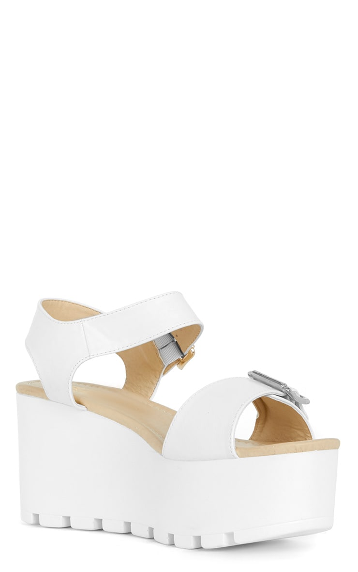 Darcy Cleated White Strap Flatform with Buckle 4