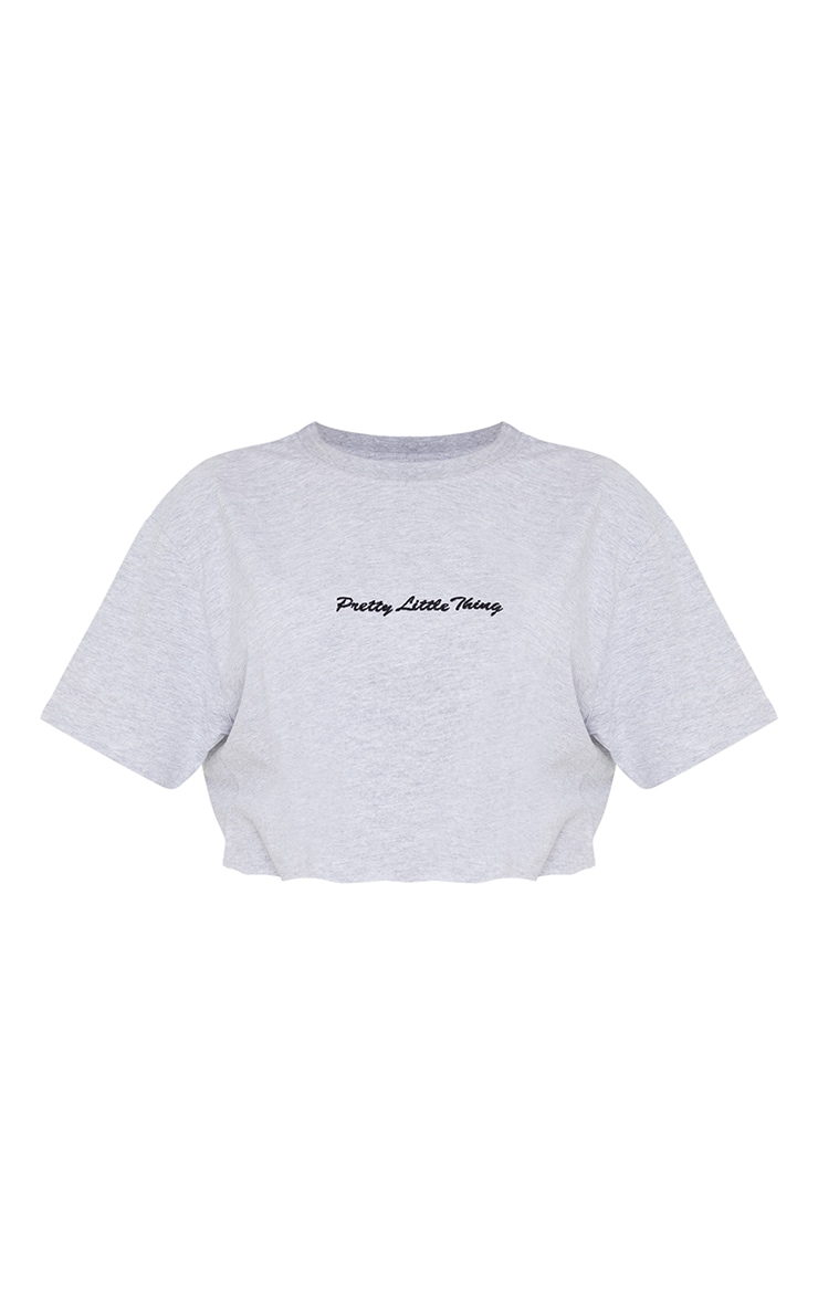 PRETTYLITTLETHING Petite Grey Cropped Embroidered T-Shirt 5