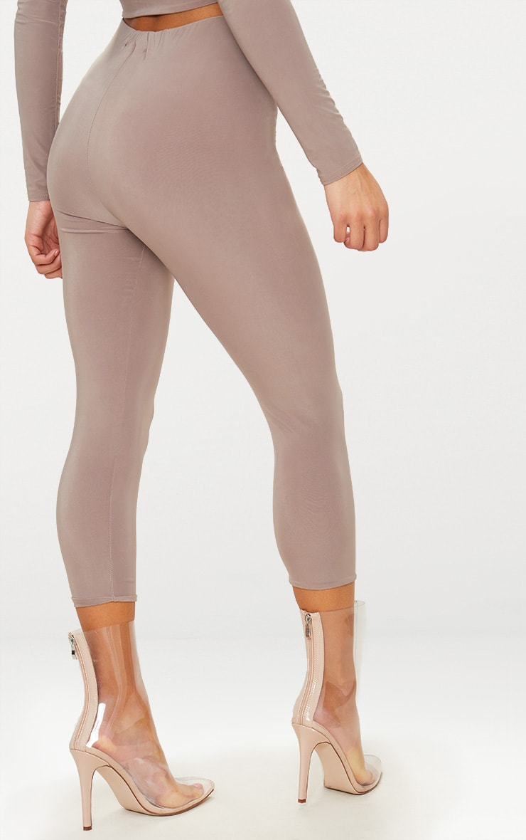 Taupe Slinky Cropped Leggings 4