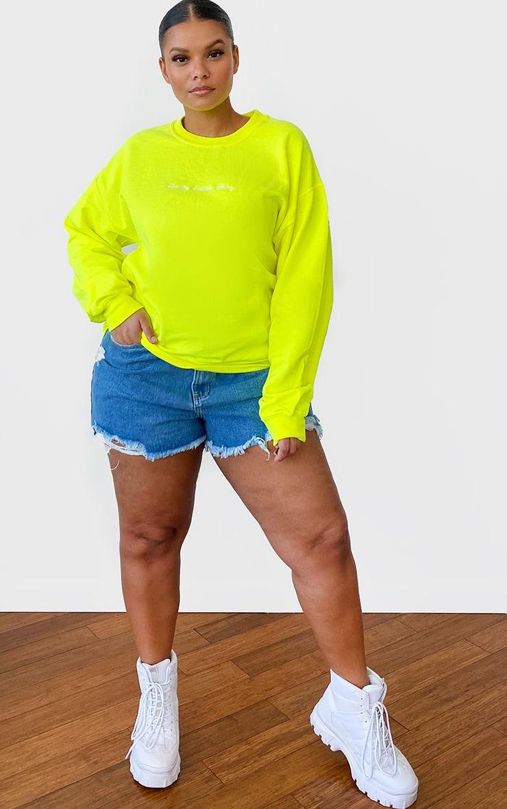 PRETTYLITTLETHING Plus Lime Oversized Sweater 3