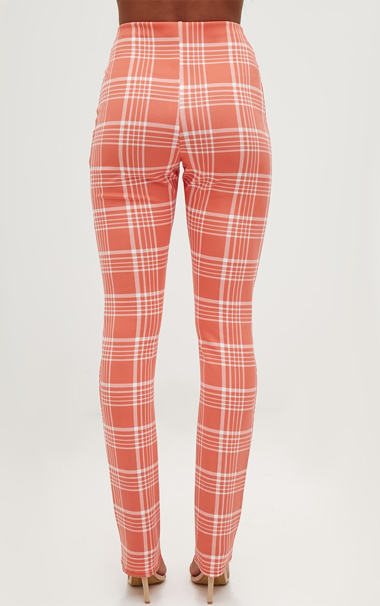 Orange Check Print Tapered Trousers  4