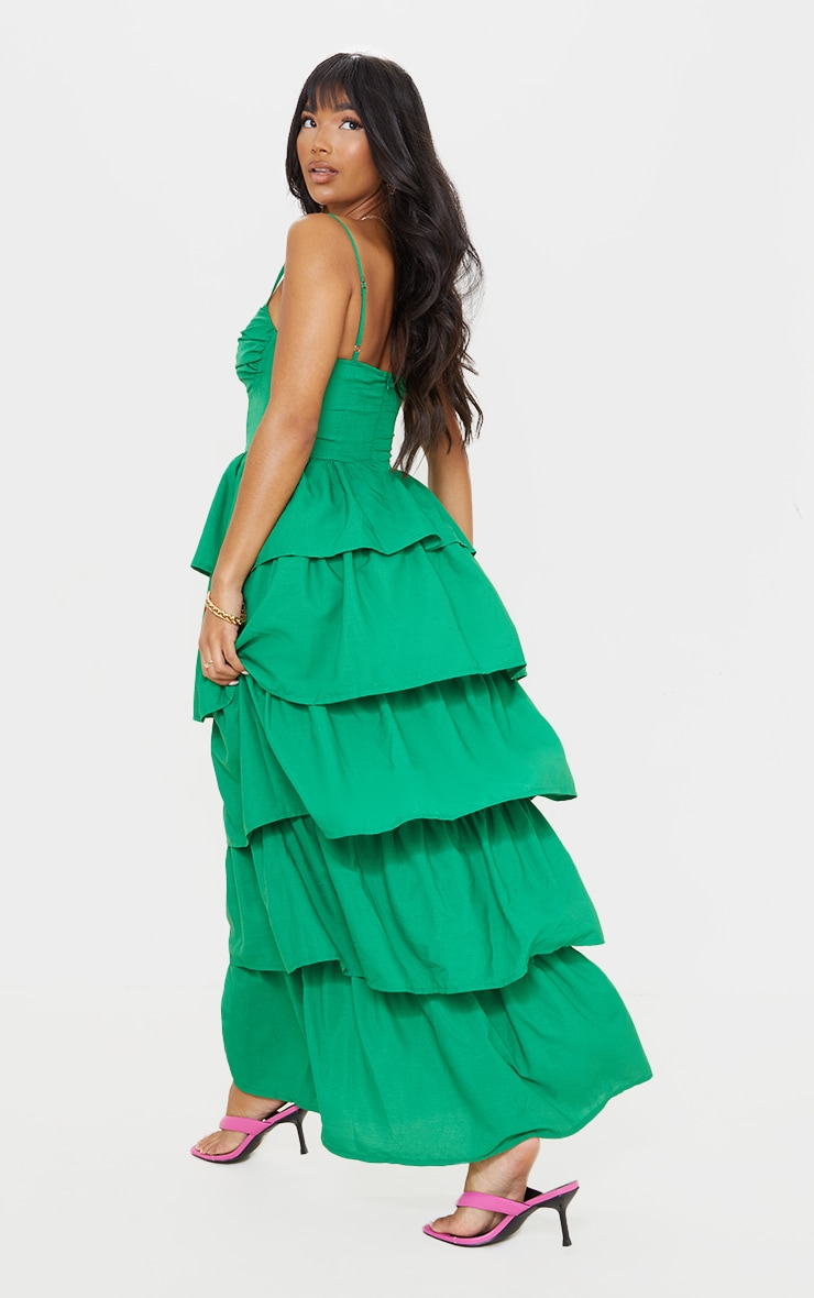 Bright Green Cup Detail Strappy Tiered Maxi Dress 2