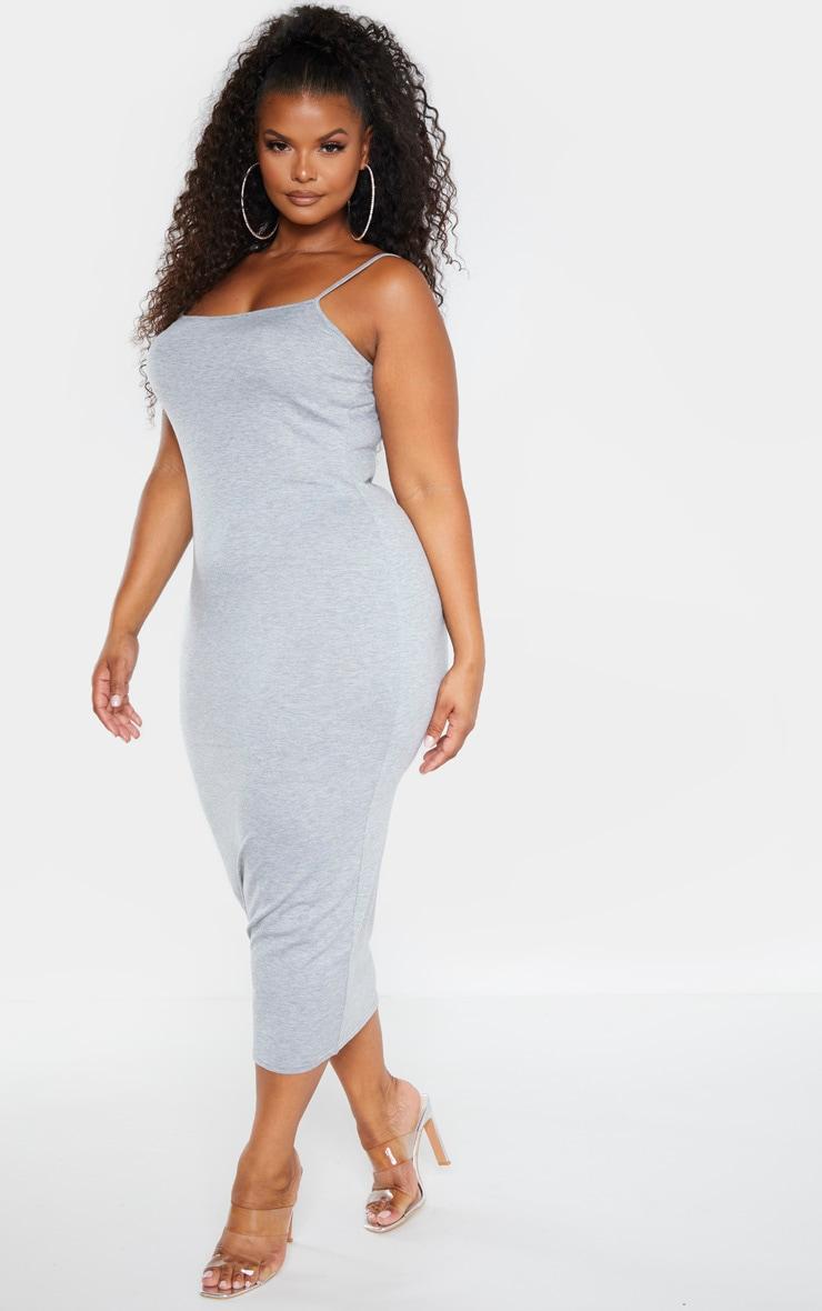 Plus Grey Marl Strappy Jersey Maxi Dress  4