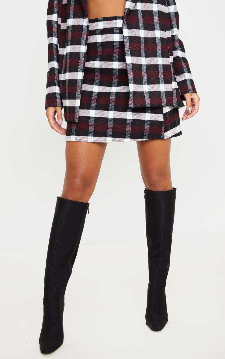 Burgundy Check High Waist A Line Mini Skirt 2
