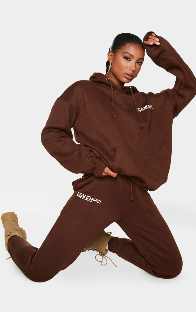 Brown Standard Slogan Longline Oversized Hoodie 3