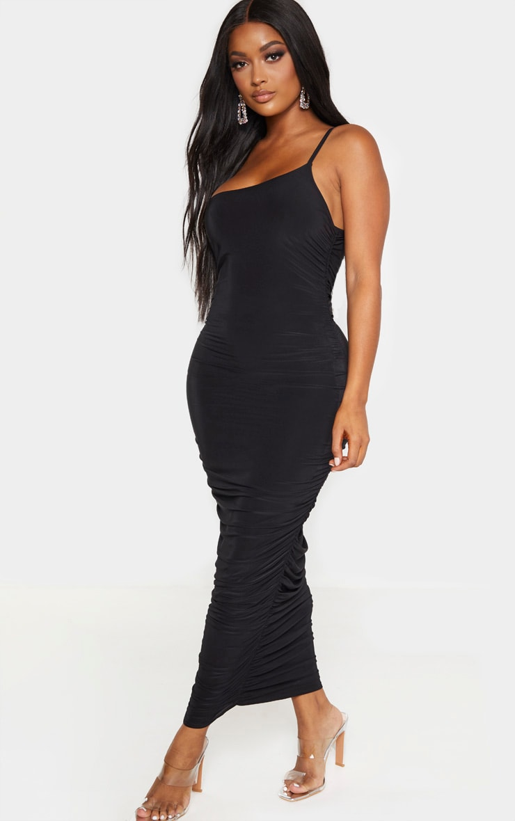 Shape Black Slinky Ruched Asymmetric Midaxi Dress