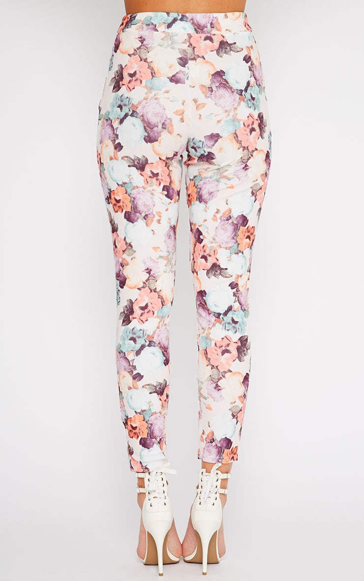 Louisa Cream Floral Print Cigarette Trousers 4