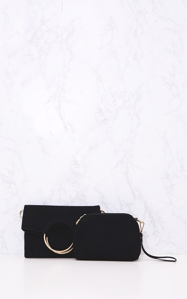 Black Ring Detail Fold Over Clutch 3