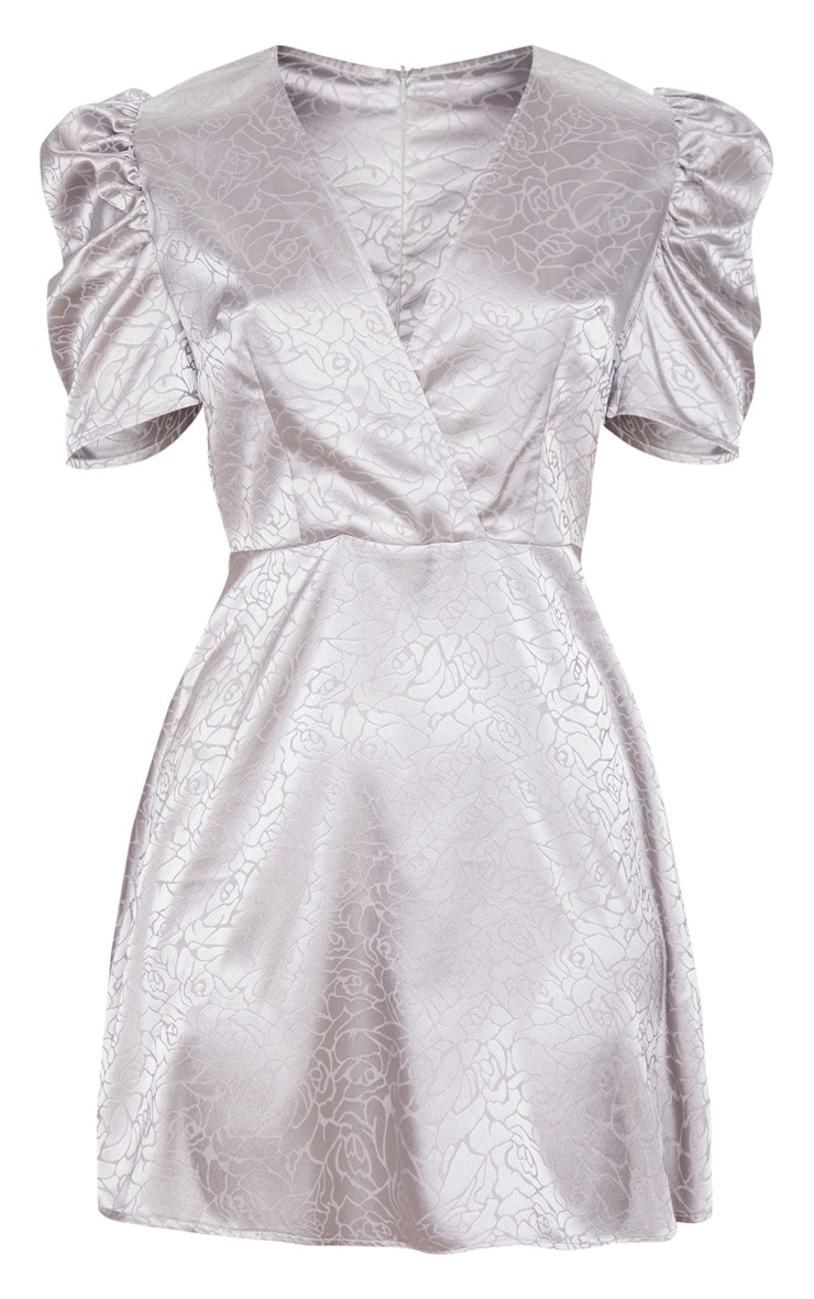 Grey Rose Floral Print Satin Puff Sleeve Shift Dress 6