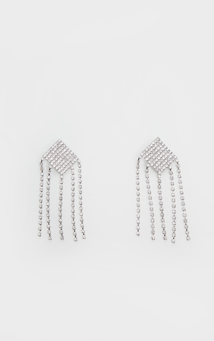 Silver Tassel Diamante Drop Earrings 2
