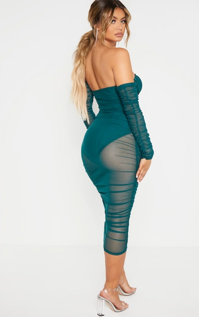 Jasper Green Mesh Ruched Velvet Binded Bardot Midi Dress