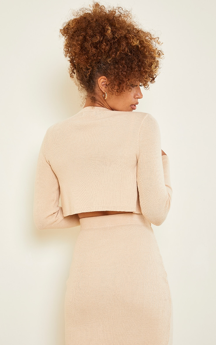 Stone Ribbed Knitted Cropped Cardigan 2