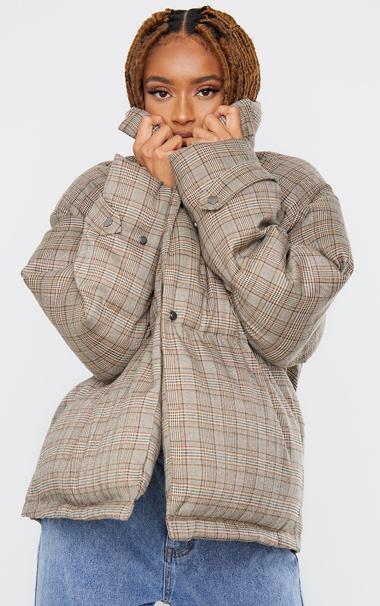 Brown Check Oversized Quilted Large Collar Puffer Coat 4