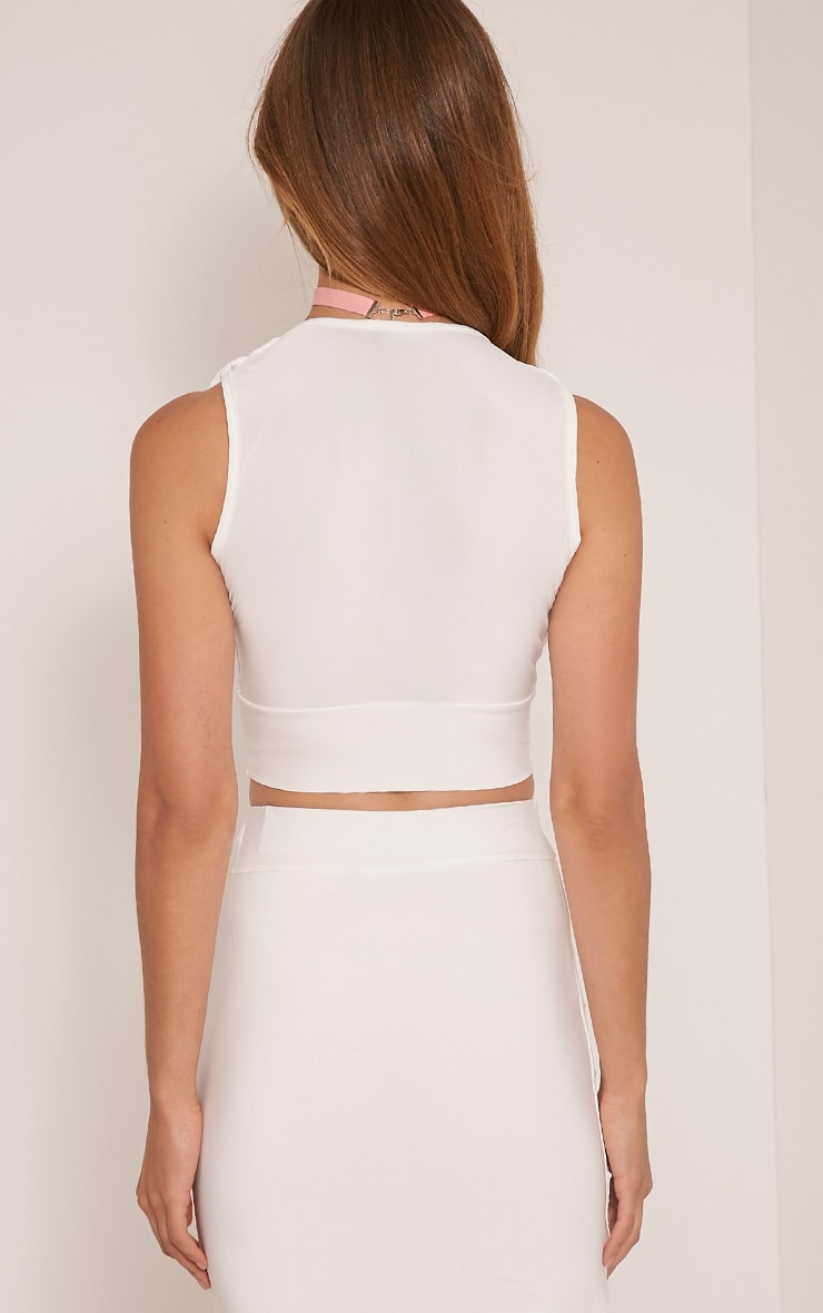 Nicole Cream Ruched Slinky Sleeveless Crop Top 2