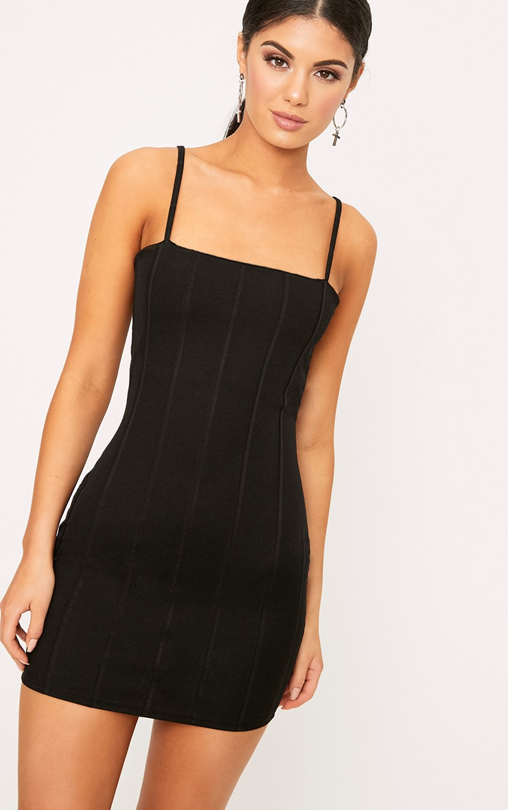 Black Straight Neck Bandage Bodycon Dress 1