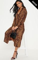Petite Tan Leopard Print Wrap Midi Dress image 1 f92a65556