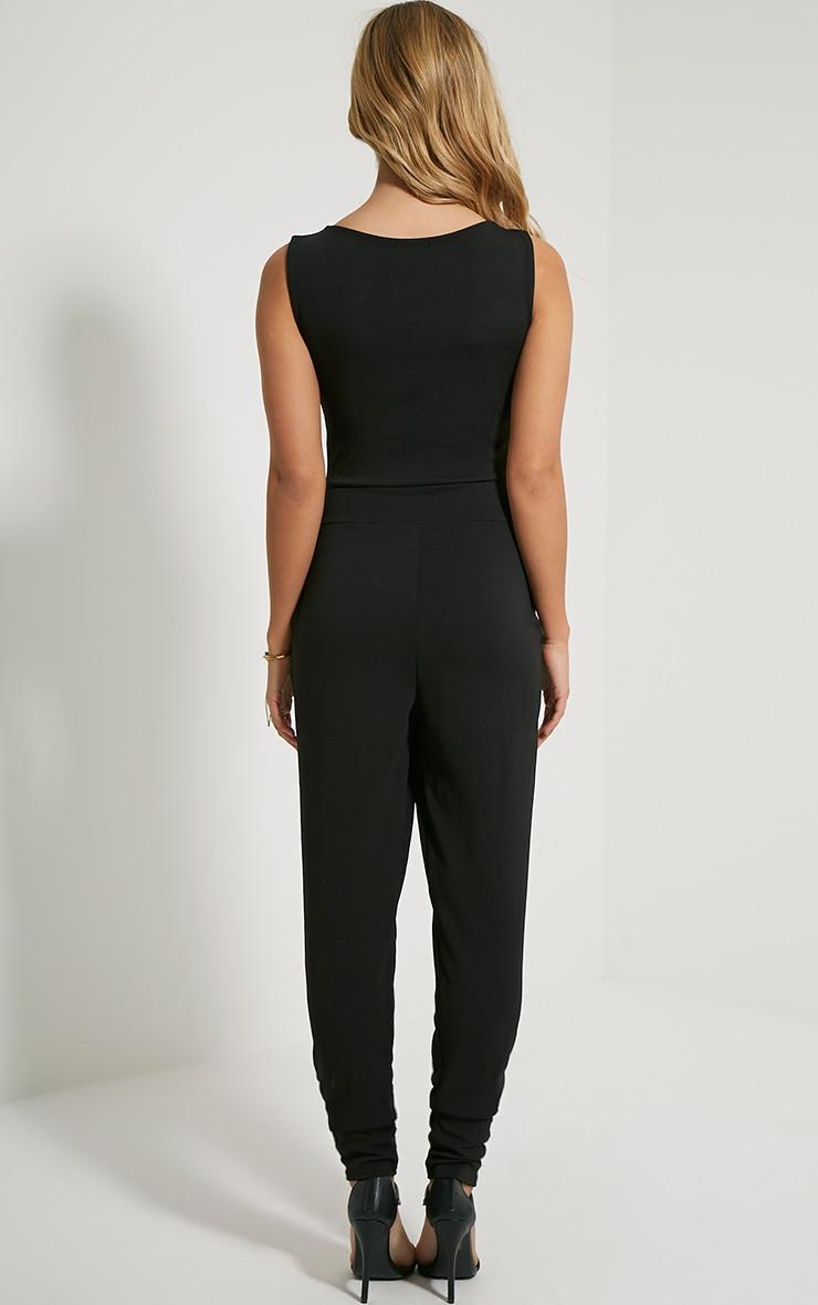 Remi Black Lace Up Crepe Jumpsuit 2