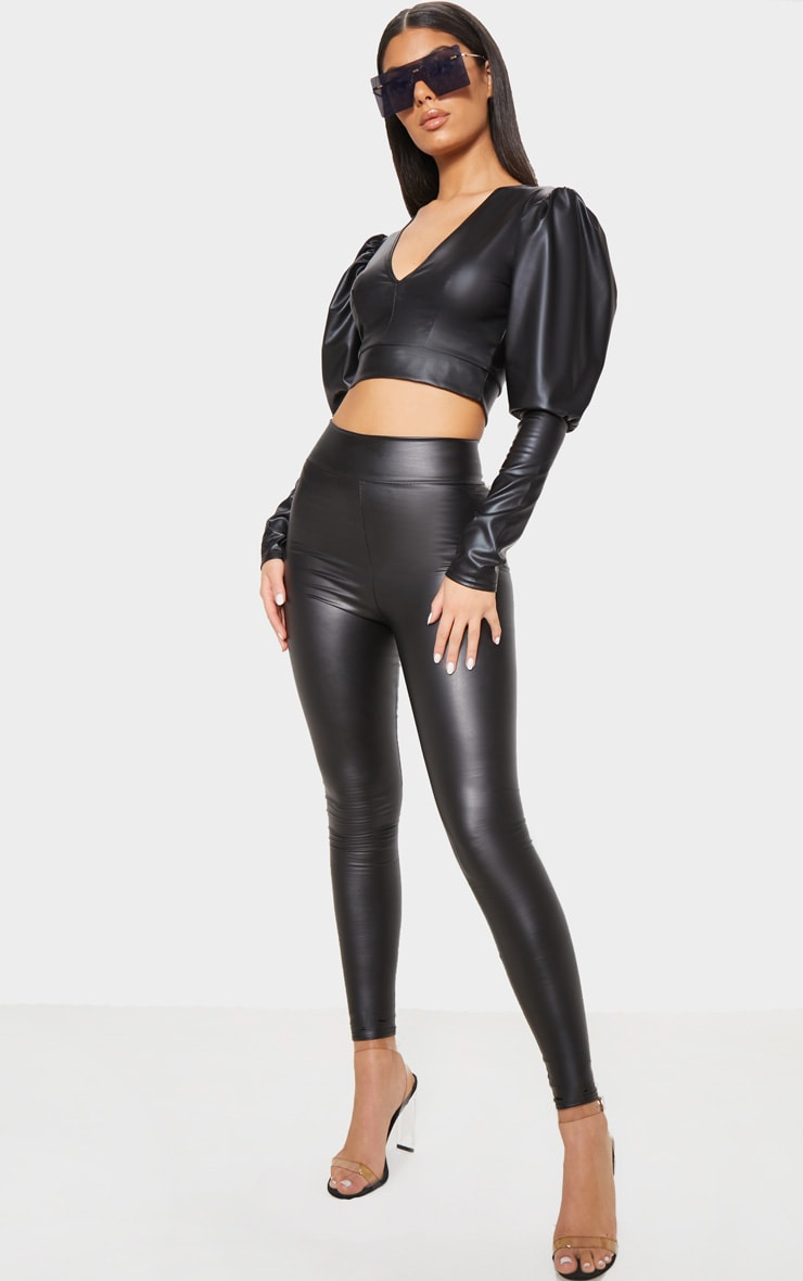 Black Wet Look High Waisted Legging 1